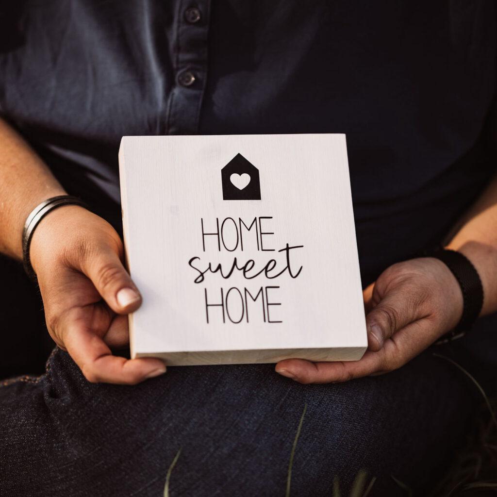 """Holzquadrat """"Home Sweet Home"""""""