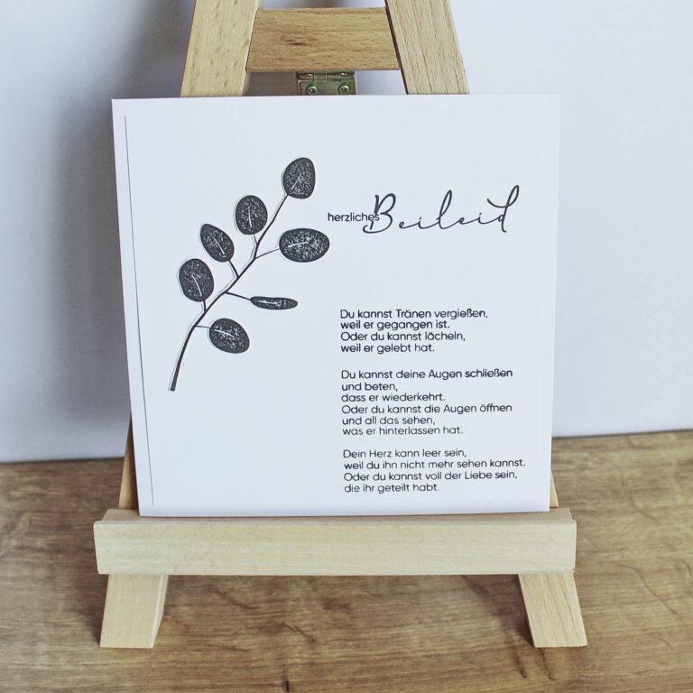 """Trauerkarte, Kondolenzkarte """"Eukalyptus"""""""